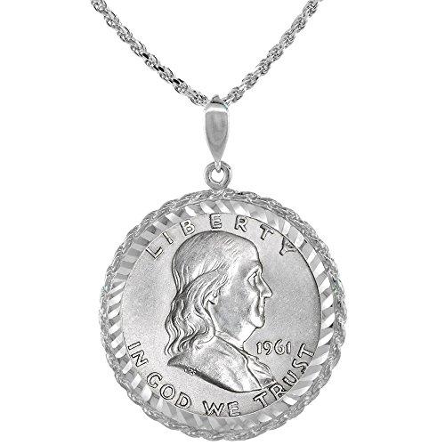 Sterling Silver Franklin Half Dollar Coin Necklace Rope Bezel 1948 - 63