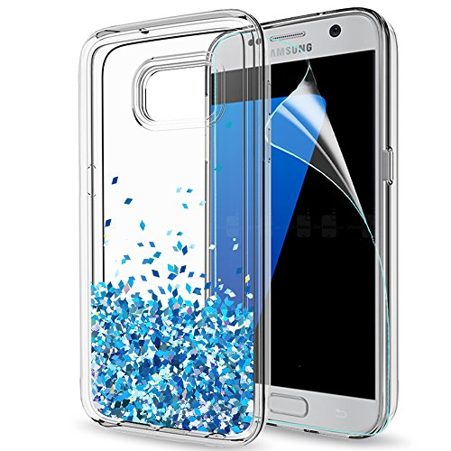 S7 Case,Galaxy S7 Glitter Case with HD Screen Protector for Girls Women,LeYi Cute Bling Shiny Moving Quicksand Liquid Clear TPU Protective Phone Cover Case for Samsung Galaxy S7 ZX TS Blue