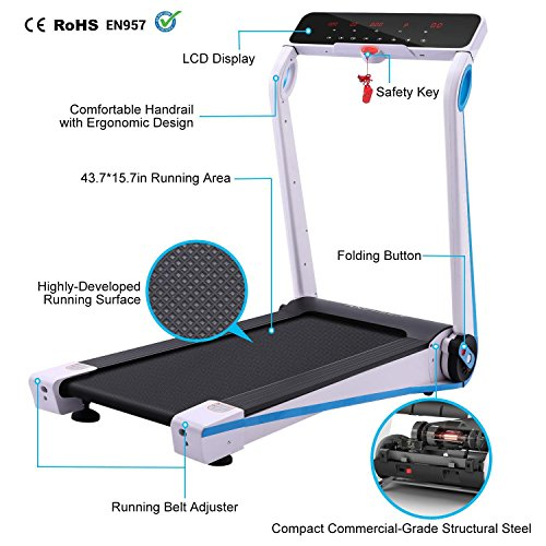 (US STOCK)Mini Portable Folding Treadmill,Easy Assembly Electric Motorized Power Treadmill Running Machine with LED Displays,Home Office Gym Fitness Trainer Equipment (Type 4)