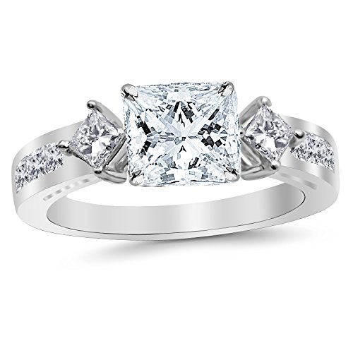 2.35 Carat t.w. 14K White Gold Channel Set 3 Three Stone Princess Diamond Engagement Ring with a 1.5 Ct Forever Brilliant Princess Moissanite -