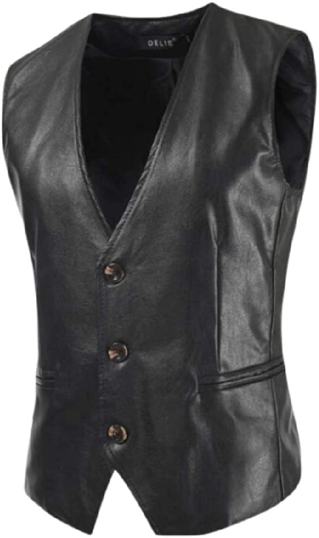 CRYYU Men V-Neck Slim Fit Faux Leather All Sleeveless Single Breasted Vest