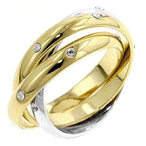 WildKlass Three Ring Two-tone Finish Eternity Set - 18k Gold Electroplated Mens Ring