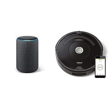 Echo Plus gris antracita + iRobot Roomba 671 - Robot aspirador suelos duros y alfombras,