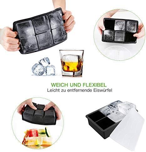 FYLINA Eiswürfelform Silikon Eiswuerfel Form 2er XXL 60mm Eiskugelform 50mm 6-Fach Eiswürfelbehälter mit Deckel Aufbewahren Würfel Eiswürfel BPA Frei Ice Cube Tray für Familie Partys