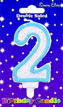 Simon Elvin - cumpleaños Vela Número 2 Azul: Amazon.es ...