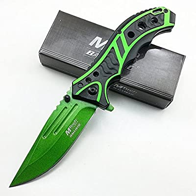 8 Inch Zombie Killer M-Tech Tactical Spring Assisted Open Green Blade Combat Folding Pocket Knife