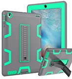Topsky Case for iPad 2 3 4 Case,Three Layer Armor Shock-Absorption/High Impact Resistant Defender Full Body Protective Case Cover for Apple iPad 2/3/4,Grey Green