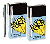Pilot Razor Point Marker Stick Pens, Ultra Fine Point, Black Ink, 24 Pens (11001)
