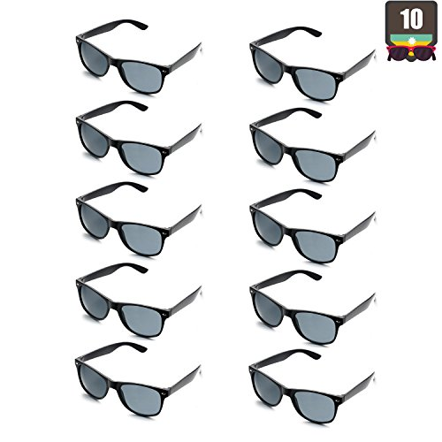 10 Packs Adult and Kids Neon Colors 80's Retro Style Sunglasses (Adult Black) -