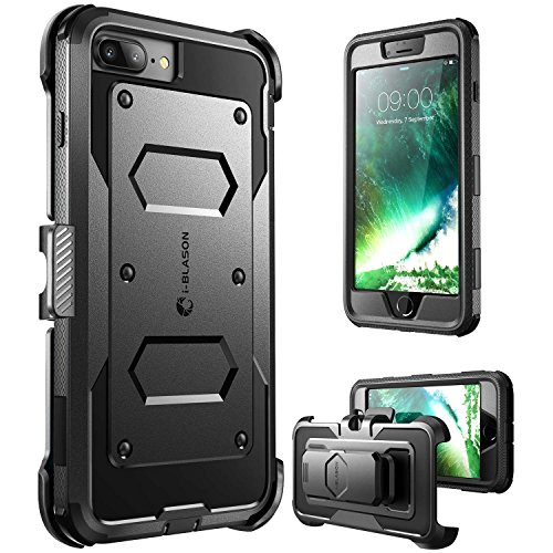 i-Blason Armorbox Series Case Designed for iPhone 7 Plus/iPhone 8 Plus, [Built In Screen Protector] [Full body] [Heavy Duty Protection ] Shock Reduction / Bumper Case (Black)