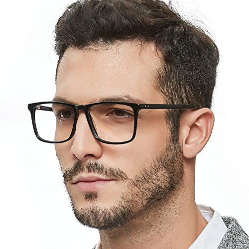 Frames Fashion Optical Acetate Eyeglasses With Clear Lenses (Black) For Mens ()