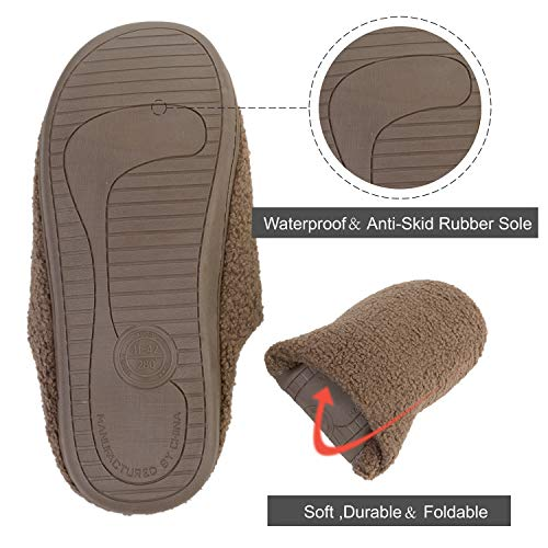 Non Cozy outdoor Shoes House Couples amp; slip Memory Women's Foam Sole Brown Indoor Men's Slippers Flats 1wq7w