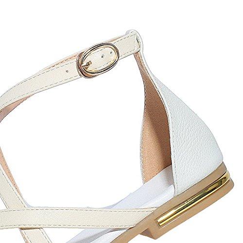 Boucle Bas Talon Unie Sandales Femme Blanc d'orteil Couleur AgooLar à Ouverture qSx7fnwnCR