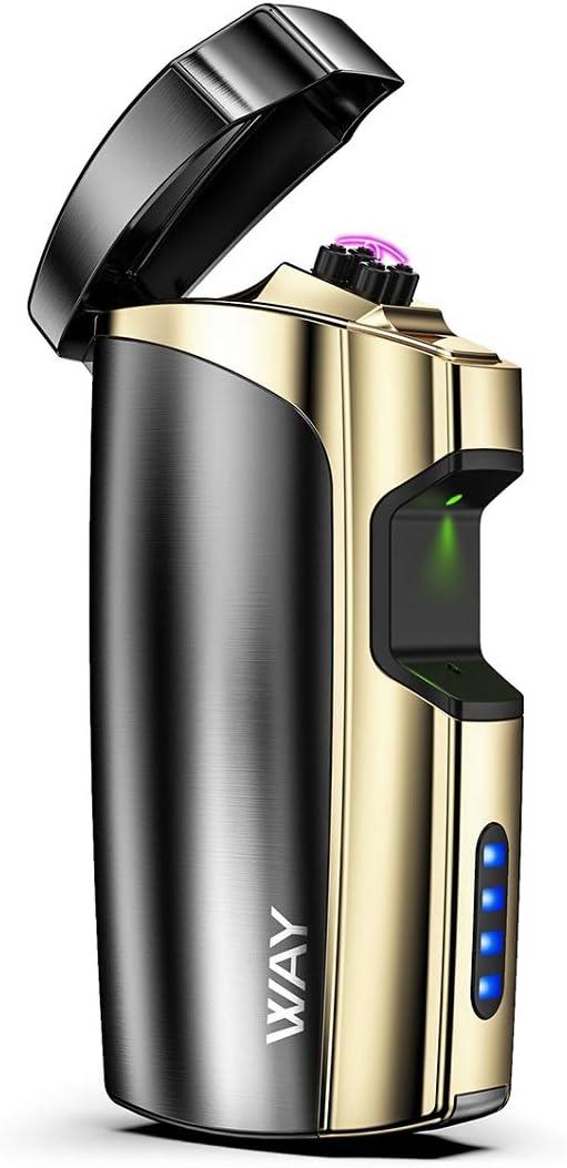 VVAY - Mechero eléctrico con USB recargable con indicador de potencia, cortavientos y portátil, sin gas ni combustibles