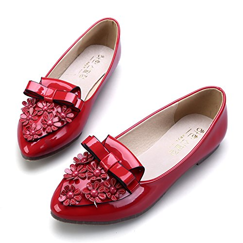 Ballet Ballerina Patent Decoration Loop Leather Red Flowers Smilun Flat Women's tp5qwxUT
