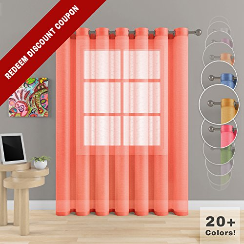 """Grommet Semi Sheer Luxury 1 Double Wide Curtain Panel Window Home Decor and Upscale Design Light Penetrating Provide Privacy Soft Durable Polyester Easy Maintenance (Panoramic 104""""x84"""" ()"""