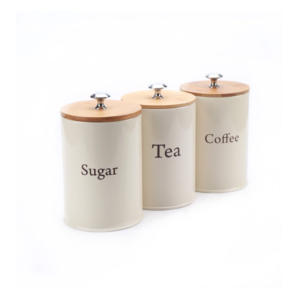 Hot Sale X022 Set of 3 Metal Food Storage Tin Canister/Jar/kitchen Containers/Home Gift with Bamboo Lid