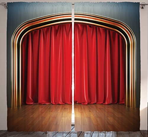 """Ambesonne Theatre Curtains, Show Stage with Classic Curtains Wooden Plank Floors Digital Illustration Print, Living Room Bedroom Window Drapes 2 Panel Set, 108"""" X 84"""", Red Brown"""