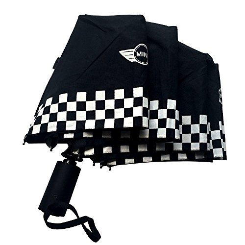 None Automatic Folding Up Compact Umbrella Black Checkered Flag for MINI Cooper F55 F56 R60 F60 R56 R57 R58 ()
