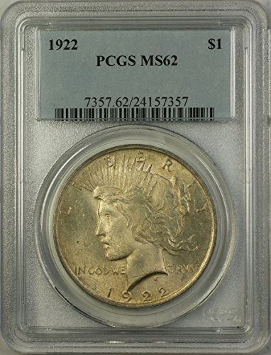 1922 Peace Silver Dollar Coin (ABR12-K) Toned $1 MS-62 PCGS