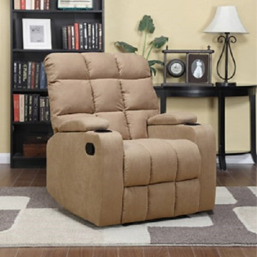 Microfiber Recliner Storage Arm Cup Holder Wall Hugger Brown. This Will Make a Great Additional to Your Living Room Furniture Tan