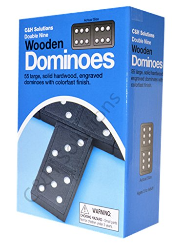 Double Nine Dominoes (Double 9 Dominoes Black With White Dots Wooden Dominoes 55 PCS By C&H)