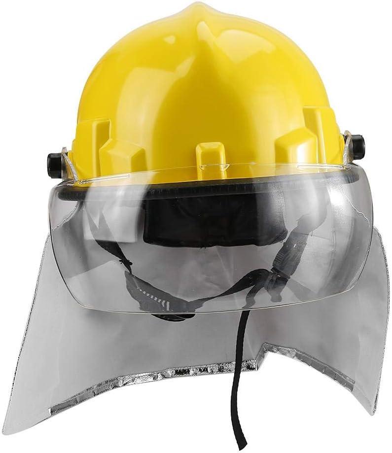 Casco de Seguridad, Casco de Seguridad para Bomberos Protección Anticorrosión Protección Contra la Radiación Resistente al Calor para el Trabajo, el Hogar, el Bombero, el Trabajo en Altura (Amarillo)