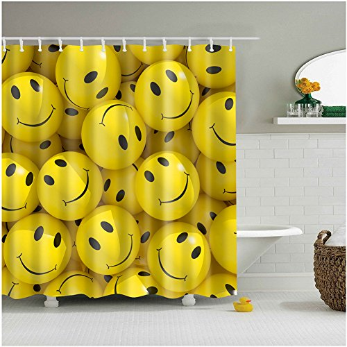 Fangkun Shower Curtain Art Bathroom Decor Set Emoticons cartoons smiley faces - Waterproof Mildew resistant - Polyester Fabric Bath Curtains - 12pcs Shower Hooks - Yellow (72 x 72 inches, YL092#) (Smiley Face Fabric)