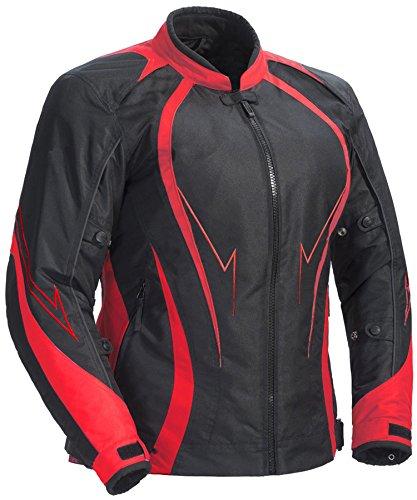 Juicy Trendz Motorcycle Motorbike Biker Cordura Waterproof Textile Jacket Red by Juicy Trendz