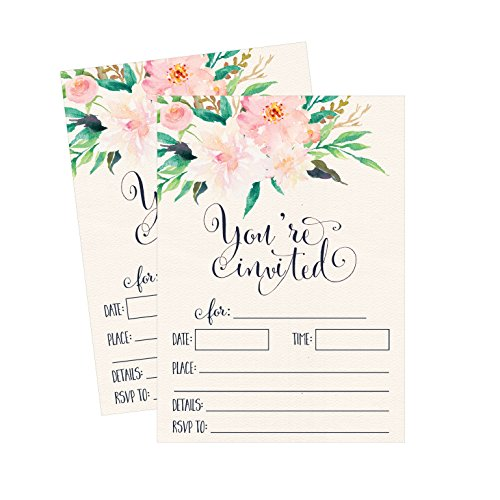 Floral Invitations (50 Floral Invitations, Pink Wedding Invites, Sweet 16, Rehearsal Dinner Invitations, Bridal Shower, Baby Shower, Bachelorette Party, Anniversary, Fill in, Housewarming)