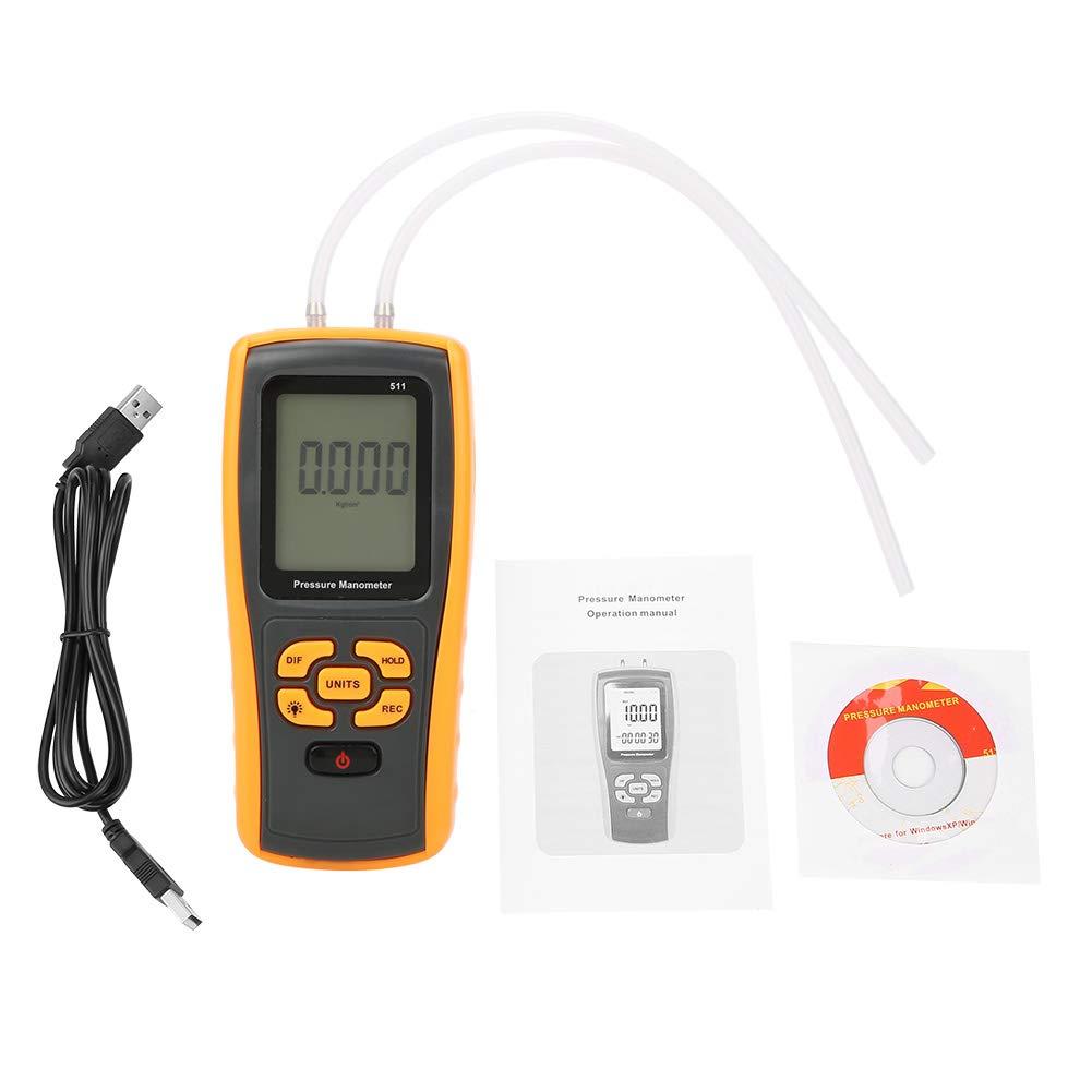 Akozon Pressure Meter GM511 Numé rique ± 10KPa Indicateur de Pression diffé rentielle USB Jauge Manomè tre Testeur/Jauge Testeur de Gaz diffé rentiel Manomè tre