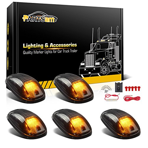 Partsam 5X Smoke Cab Marker Light Amber LED Top Roof Running Light Assembly + Wiring Pack Compatible with Dodge Ram 1500 2500 3500 4500 5500 2003-2018