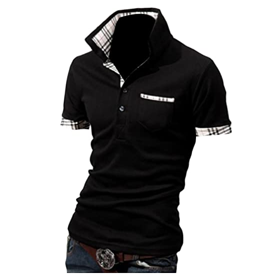 4f8b8719 Image Unavailable. Image not available for. Color: Vska Men's Custom Fit  Assorted Colors Plaid Polo Neck T-Shirt Top Black L