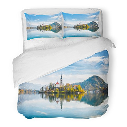 SanChic Duvet Cover Set Lake Bled Slovenia Beautiful Mountain Small Pilgrimage Church Most Famous Slovenian Island Decorative Bedding Set 2 Pillow Shams King Size by SanChic