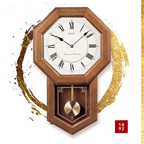 Seiko Light Oak Traditional Schoolhouse Wall Clock with Chime & Pendulum 2