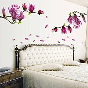 COVPAW Wall Stickers Magnolia Flower Blossom Pink Purple Home Decor Lobby all Room Bedroom Decal removable Living Room Bedroom Corridor Stair