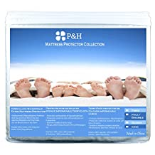King Size Hypoallergenic Terry Cloth Waterproof Mattress Protector by P&H - Phthalate, PVC and Vinyl Free (King)