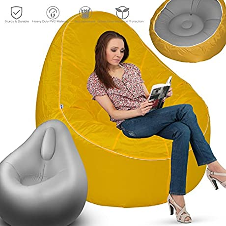 Inflatable Sofa GREEN JUNGLE Inflatable Chair Portable Air Lounger Couch Super Comfortable Durable With Ergonomic Design Fast Inflate Deflate No Leakage No Pop C Yellow