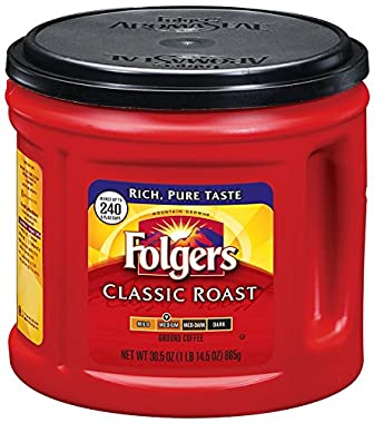 Folgers Classic Roast Ground Coffee, Medium Roast