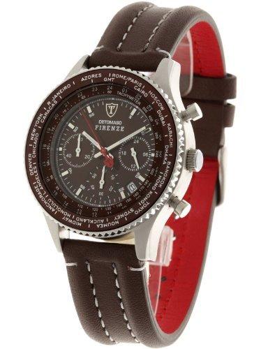 DETOMASO Men's SL1624C-BN FIRENZE Chronograph Trend Braun/Braun Analog Display Japanese Quartz Brown Watch