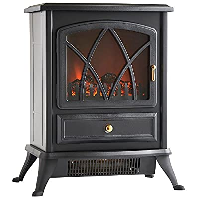 VonHaus Free Standing Electric Stove Heater Portable Home Fireplace with Log Burning Flame Effect Adjustable 1500W (16.8W x 10.8L x 20H inches - Black)