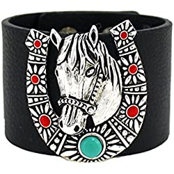 4031435 Horse Horseshoe Wide Leather Bracelet Equine Equstrian Western Theme Cowgirl Cow Girl Up