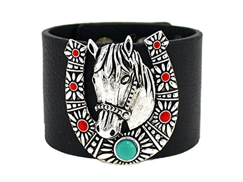 Horseshoe Magnetic Bracelet - 4031435 Horse Horseshoe Wide Leather Bracelet Equine Equstrian Western Theme Cowgirl Cow Girl Up