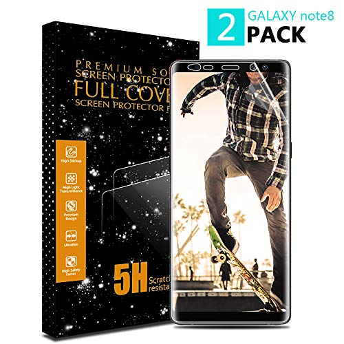 Samsung Galaxy Note 8 Screen Protector AAJO [2 Pack] [Not Tempered Glass] [Anti-Scratches] [High Touch Sensitivity] Ultra HD Clear Full Coverage TPU Screen Protector for Samsung Galaxy Note 8