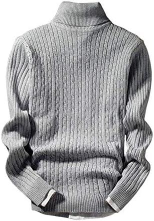 [Ducolon]セーター メンズ 無地 タートル ネック リブ 編み ニット ケーブル 細身 ハイ スリム