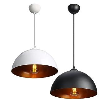 CCLIFE 2x Industrial Vintage Retro Pendellampe Pendelleuchte Hngelampe Hngeleuchte Fr Kchen Esszimmer Schwarz Weiss 30cm