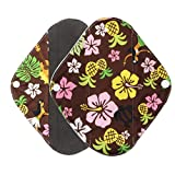 Gallity S-L Size Reusable Sanitary Pads, Regular Flow, Washable Bamboo Menstrual Cloth Panty Liners (L, Multicolor)