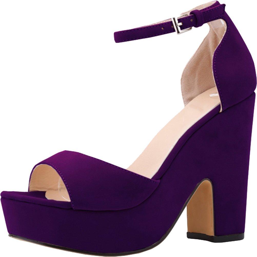 Salabobo Womens Sexy Fashion Night Club Party Platform Heighten Block Heel Wedges Cloth Sandal B01LY6AIAH 10 B(M) US|Purple