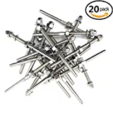 Senmit Threaded Terminal Stud End,Stainless Steel Stair Railing,for 1/8 Cable Deck Railing Hand Swage T316 Marine Grade 20 Pack