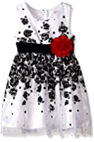 Youngland Little Girls' Floral Flocked Mesh Dress with Flower